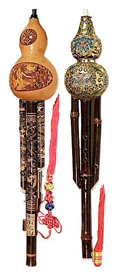 The hulusi or cucurbit flute is a free reed wind instrument from China. It is held vertically and has three bamboo pipes which pass through a gourd wind chest; the center pipe has finger holes and the outer two are typically drone pipes. The hulusi was originally used primarily in Yunnan province by the Dai and other non-Han ethnic groups but is now played throughout China. Like the related free reed pipe called bawu, the hulusi has a very pure, clarinet-like sound.
