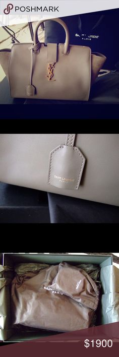 YSL Yves Saint Laurent Small Downtown Cabas YSL Small Monogram Downtown Cabas bag in military khaki. This was purchased brand new in the Saint Laurent store in King of Prussia, Pennsylvania in March 2017. Bag has never been out of the original packing except to take photos. Mint condition. Comes with detachable shoulder strap & all original packaging plus box and shopping bag. Suede side panels. I'm selling the matching shoes in another listing. Yves Saint Laurent Bags Shoulder Bags