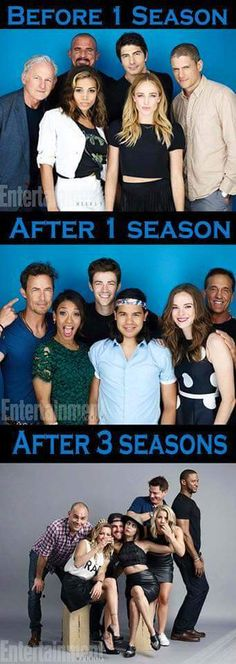 #MemeMonday - How casts pose before their first season, after their first season, and after their third season Arrow Cw, Team Arrow, Arrow Oliver, Arrow Flash, Dc Tv Series, Flash Funny, Arrow Memes, Superhero Shows, Flash Barry Allen
