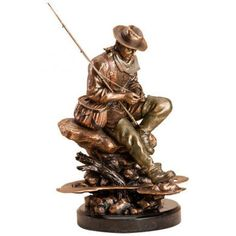Lure Change Fisherman Sculpture