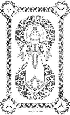 Fantasy line art, Celtic knotting, phaeril goddess from larp event, Vodu'kar, quon. Watkanjewel.com