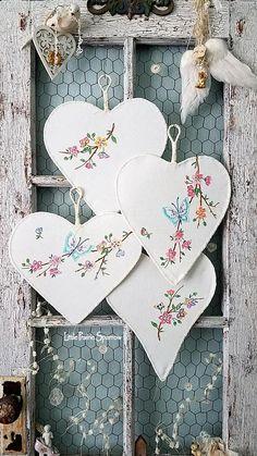 Heart Wire Heart Fabric Heart Set of Hearts Pink Flower