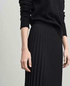 Filippa K - pleated skirt + black knit Fashion Mode, Minimal Fashion, Look Fashion, Luxury Fashion, Womens Fashion, Fashion Clothes, Modest Fashion, Style Noir, Mode Style