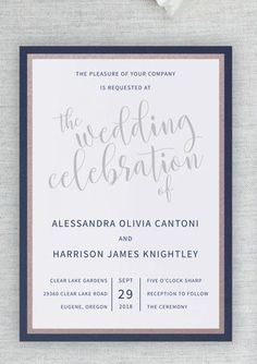 Your amazingly beautiful wedding deserves to start with a gorgeous invitation to let your guests know just how elegant it will be.This wedding invitation shows off your style with panel layers in both shimmery dusty rose and shimmery navy. The invitation here is printed on a matte white card stock. Light, barely pink envelopes finish off the design - who doesn't love to get a little pink envelope in the mail?    www.invitedbylamaworks.com  every invitation deserves to be custom