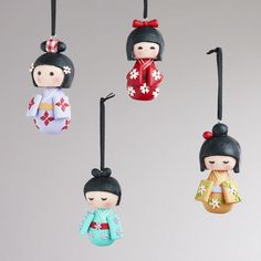 Clay Kokeshi Doll Ornaments, Set of 4 - World Market Cute Polymer Clay, Fimo Clay, Polymer Clay Projects, Polymer Clay Charms, Clay Crafts, Diy And Crafts, Unique Christmas Ornaments, Kokeshi Dolls, Matryoshka Doll