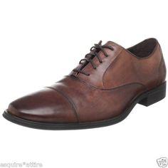 COLE HAAN Mens Air Adams Cap Oxford Dress Shoe Dark Brown Leather C09167 size 9