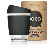 Joco    Ethically minded, Joco are all about equal amounts of substance and style. They care for your coffee as much as Mother Earth, and believe that environmentally safe materials combined with smart design are the best reasons to drink from their cups over plastic alternatives.  Joco's packaging follows the eco-mindset of their glass cups. Their packaging has been designed to be reused and can be posted as a mail tube.