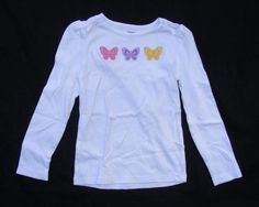 GYMBOREE Long Sleeve Top, White Butterfly Blossom 100% Cotton Round neck Sz 7 #Gymboree