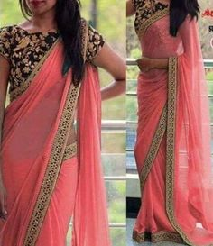 Pink Embroidered Poly Georgette Saree With Blouse piece - Saree Styles Fancy Sarees Party Wear, Party Wear Sarees Online, New Fashion Saree, Indian Fashion, Women's Fashion, Muslim Fashion, Unique Fashion, Fashion Outfits, Indische Sarees