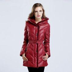 Ladies Fur Trim Goose Down Hooded Quilted Medium-Length Winter Coat M-3XL