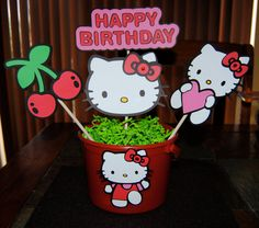 Hello Kitty Inspired Birthday Party Centerpiece.....Red Beach Pail. $23.00, via Etsy.