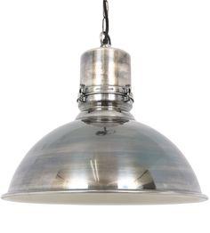 Hanglamp Stockport Antiek Zilver Met Wit Gespoten Binnenzijde. Max 60 Watt E27. Deze Lamp Is Te Zien In Onze Showroom. Deze Lampen Zijn In Principe Bij Onze Toeleverancier Op Voorraad. Verzenden Van Deze Lamp Is Gratis.  Hanglamp Stockport Antiek Zilver  Antiek Zilver