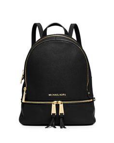 Rhea+Small+Zip+Backpack,+Black+by+MICHAEL+Michael+Kors+at+Neiman+Marcus.