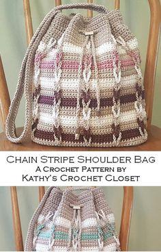 Crochet Bag PATTERN - Chain Stripe Shoulder Bag - Drawstring Bag Pattern - Striped Bag Pattern - Chain Link Crochet Bag - Drawstring Purse Knitting For BeginnersKnitting HatCrochet PatternsCrochet Scarf Diy Crochet Purse, Crochet Purse Patterns, Crochet Handbags, Crochet Purses, Crochet Bags, Knit Crochet, Cordon Crochet, Crochet Chain, Free Crochet