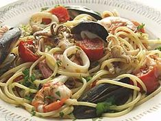 Pasta allo scoglio or Italian spaghetti