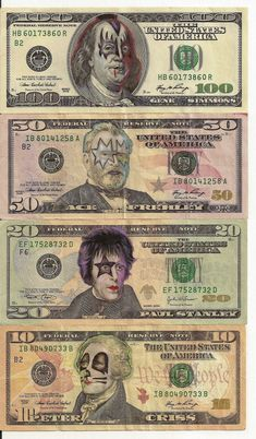 artist James Charles doesn't seem to be in any legal trouble for his awesome series of Pop Culture Cash. His portraits, created on real money using ink, turn dead presidents into colorfully amusing pop culture icons. Cultura Pop, Banda Kiss, Kiss Art, Hot Band, Gene Simmons, Ramones, Iron Maiden, Founding Fathers, Andy Warhol