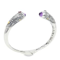 Amethyst and Garnet Sterling Silver Bangle with 18K Gold Accents | Cirque Jewels