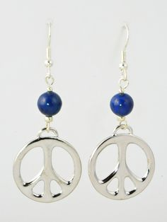 Antique Silver Peace Signs with Blue Beads