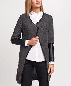 Look at this #zulilyfind! Graphite Contrast-Cuff Open Cardigan #zulilyfinds