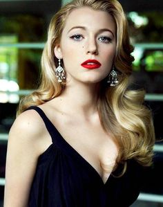 Blake Lively. love the hair and the lip color.