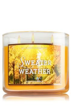 """Sweater Weather - 3-Wick Candle - Bath & Body Works - The Perfect 3-Wick Candle! Made using the highest concentration of fragrance oils, an exclusive blend of vegetable wax and wicks that won't burn out, our candles melt consistently & evenly, radiating enough fragrance to fill an entire room. Burns approximately 25 - 45 hours and measures 4"""" wide x 3 1/2"""" tall."""