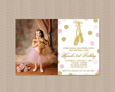 Pink and Gold Ballerina Birthday Party Invitation, Ballerina Birthday Party Invitation, Glitter Polka Dots, Photo, Printable Invitation