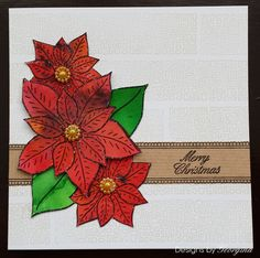 Christmas card using Brushos and 'Designs by Georgina' Poinsettia Tag stamp.