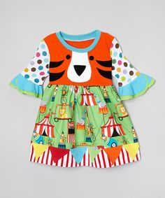 Another great find on #zulily! Green & Orange Tiger Circus Dress - Toddler & Girls by Haute Totties Boutique #zulilyfinds