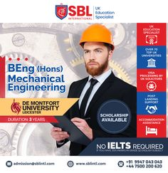 SBL International is the Best Overseas Education Consultant in Calicut. We offers you the Best Study in UK programs for International Students all over the world. We assist the students in their Study Abroad dreams along with delivering quality. De Montfort University, Uk Universities, Overseas Education, Mechanical Engineering, Ielts, Leicester, Study Abroad, Student, Engineering