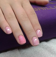 Gorgeous pale pink nails with a shimmery accent. Get the look with pink nail… Pale Pink Nails, Pink French Manicure, Pink Glitter Nails, Lace Nails, Pink Nail Art, Nail French, Blush Pink, Nail Deco, Get Nails