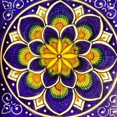 Diamond Painting Yellow and Purple Flower Mandala Kit Italian Tiles, Italian Art, Italian Pottery, 5d Diamond Painting, Flower Mandala, Mandala Coloring, Tile Art, Tile Patterns, Oeuvre D'art