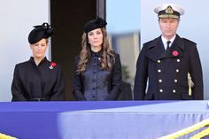 British Royal Family Attend Remembrance Sunday Service, November 10, 2013-The Countess of Wessex, Duchess of Cambridge, and Commander Tim Laurence at Buckingham Palace