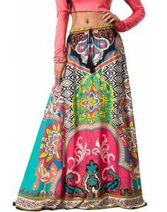 Womens Sexy Multicolored Ethnic Tribal Print Full Long Boho Gypsy Maxi Skirt