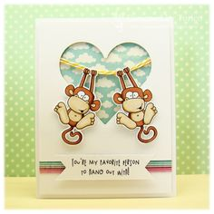 luv the cloud printed paper for the background in the negative space...cute monkeys hanging on...