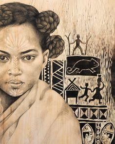 Masonjoany by Stephanie Ledoux Black Panther Art, Black Art, Ceramic Painting, Painting & Drawing, Contemporary Art Artists, Afrique Art, Ledoux, Atelier D Art, Street Painting