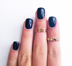3 Above the Knuckle Gold Rings - Z Gold Combo - set of 3 rings stackable midi rings. $15.99, via Etsy.