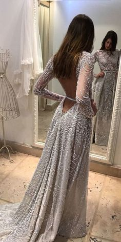 2017 Custom Made Charming Beading Prom Dress, Long Sleeves Prom Dress,Backless Prom Dress,See Through Prom Dress