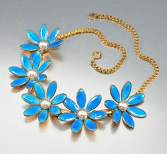 Vintage Blue Enamel Flower Pearl Art Deco Necklace – Boylerpf