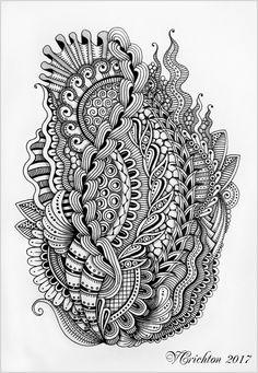 Zentangle art, liner, Viktoriya Crichton. (blackandwhite)