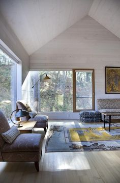 A tiny local train depot in rural Connecticut, USA was completely reinvented by the creative team at Gray Organschi Architecture. The resulting Depot House is an original looking welcoming modern home. Home Interior Design, Interior Architecture, Interior And Exterior, Architecture Journal, Zone Rurale, Open Floor House Plans, Modern Cottage, Modern Farmhouse, House Built