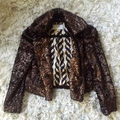 Leifsdottir Anthropologie Faux Fur Coat GORGEOUS & LUXURIOUS statement piece, pics do not do this coat justice! NWT. Fully lined. Inner breast pocket. Outer slit pockets & collar lined in black velvet. Copper-gold brushed faux fur in deep brown-black catches the light beautifully. Looks & feels expensive. Size 6, TTS. Leifsdottir Jackets & Coats
