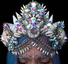 Ceremonial Crown of a Water Goddess Glitter Brows, Seashell Crown, Mode Steampunk, Uñas Fashion, Mermaid Crown, Mermaid Jewelry, Crystal Crown, Circlet, Fantasy Dress