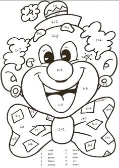 Kunst Grundschule - e-yliko για διδασκαλία Clown Crafts, Circus Crafts, Colouring Pages, Coloring Sheets, Coloring Books, Circus Activities, Preschool Activities, Color By Numbers, Circus Theme
