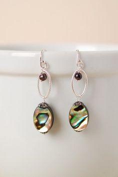 Aba003E unique handmade abalone pearl dangle sterling silver hoop dangle earrings for women