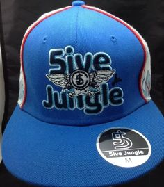 5IVE Jungle Co 5J Blue Red White Mens Fitted Hat Cap M Medium | eBay