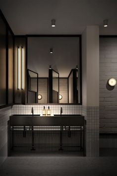 Washroom Design, Toilet Design, Bathroom Design Small, Modern Bathroom, Toilet Restaurant, Restaurant Bathroom, Commercial Toilet, Toilet Tiles, Basin Design
