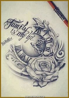Our Website is the greatest collection of tattoos designs and artists. Find Inspirations for your next Clock Tattoo. Search for more Tattoos. Neue Tattoos, Body Art Tattoos, Hand Tattoos, Sleeve Tattoos, Tatoos, Clock Tattoo Design, Tattoo Design Drawings, Tattoo Sketches, Tattoo Clock