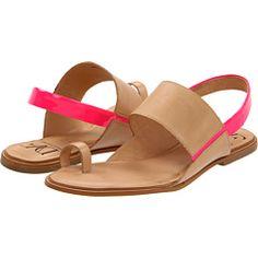 pop of pink on dvf sandals