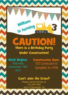 Construction Birthday Invitation by Partyperfectdesign on Etsy, $10.00