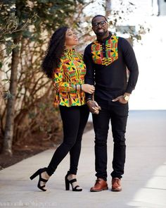 Couples showcase their romantic relationship with beautiful and colourful Ankara outfits., you'll see how lovely couples look in Matching Ankara Outfits. Couples African Outfits, African Clothing For Men, African Shirts, Couple Outfits, African Attire, African Wear, African Dress, African Style, African Fabric